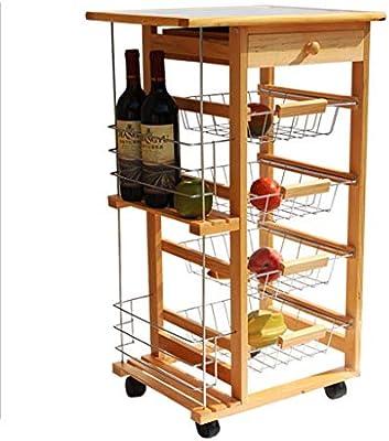 Amazon.com: HLWAWA - Carrito de cocina de madera con cajones ...
