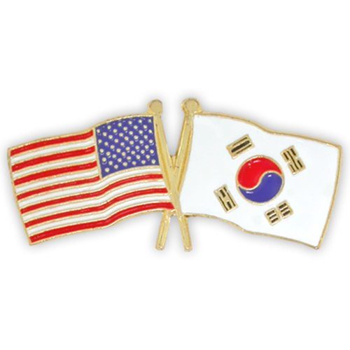 PinMart's USA and South Korea Crossed Friendship Flag Enamel Lapel Pin 1 1/8''W x 1/2''H (Usa Korea Lapel Pin)