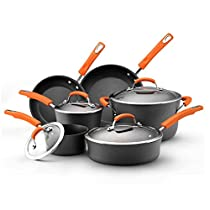 Rachael Ray Hard Anodized II Nonstick Dishwasher Safe 10-Piece Cookware Set, Orange by Rachael Ray