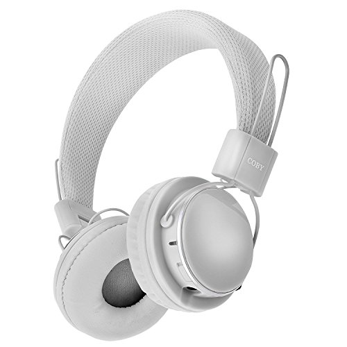 b4b488208fc Coby Bass Boost Stereo Over Ear Headphones with Built-In Mic – White
