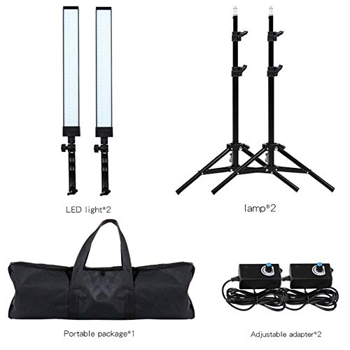 (GIJUANRING LED Photography Dimmable Lighting Kit, 5600K Photo Studio Led Light Kit with Tripod Stand for Portrait Video and)