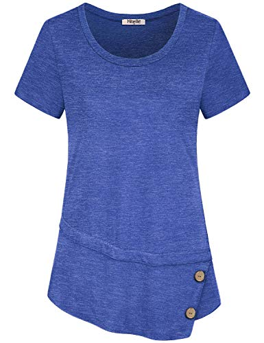 Hibelle Royal Blue Shirts for Women, Summer Short Sleeve Dressy Tunic Blouse with Buttons Petite Casual Round Neck A Line Loose Tshirt Modern Jersey Knit Textured Classy Tops Large