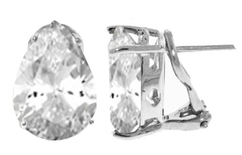 14k White Gold 10ct White Topaz Omega Clip Earrings ()