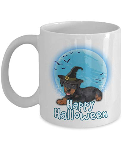 Happy Halloween Rottweiler - 11 OZ white Mugs for Major Tea, Coffee - Great Gift For Rottweiler Dog Lover - Perfect Gift for Birthday - By Kiwi Styles ()