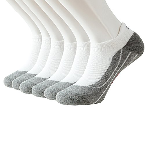 Feetalk Men's and Women's 6 Pack Running Arch Support Cushion Ankle Tab Sock - Performance Athletic Low Cut No Show Socks(White,men shoe size 6-9 / women shoe size 6.5-11)