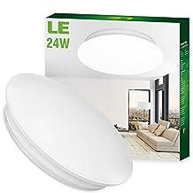 "SHANHAI 24W Daylight White LED Ceiling Lights, Light Fixture for Kitchen, Living Room & Bathroom- 180W Incandescent , 50W Fluorescent Bulb Equivalent, 2000lm, 6000K, Flush Mount Light, 16"" Diameter"