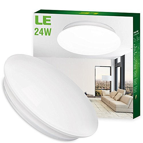SHANHAI 24W Daylight White LED Ceiling Lights, Light Fixture for Kitchen, Living Room & Bathroom- 180W Incandescent , 50W Fluorescent Bulb Equivalent, 2000lm, 6000K, Flush Mount Light, 16