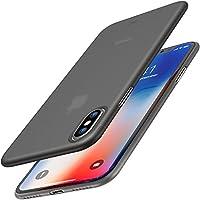 Funda TOZO para iPhone X, cubierta dura ultra delgada [0,35 mm] Parachoques de protección más delgado del mundo Slim Fit Shell iPhone 10 /X [Semitransparente] Ligero [Negro mate]