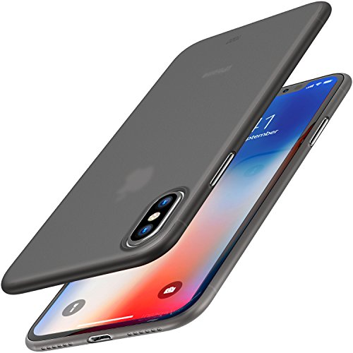 TOZO for iPhone X Case, Ultra Thin Hard Cover [0.35mm] World's Thinnest Protect Bumper Slim Fit Shell for iPhone 10 / X [ Semi-transparent ] Lightweight [Matte Black]