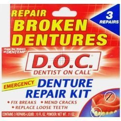 THREE PACKS of Dentemp Denture Repair Kit by Dentemp