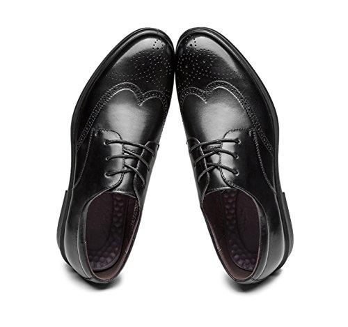 MSM Männer Blockschuhe Leder Glatt Oberen Bequemen Kleid Schuhe Business Casual Schwarz Braun
