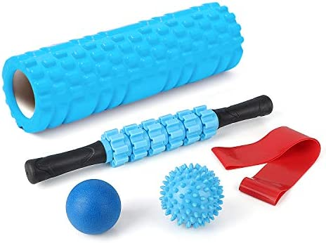 5 In 1 Foam Roller Set 18/'/' Muscle Rollers Stick Massage Balls Workout Exercises