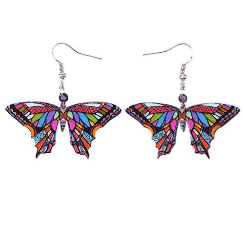 (Bonsny Acrylic Drop Dangle BUTTERFLY Earrings Funny Design Lovely Gift For Girl Women Fashion Jewelry)
