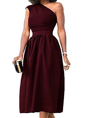 Nashion Women One Shoulder Vintage Party Midi Dress
