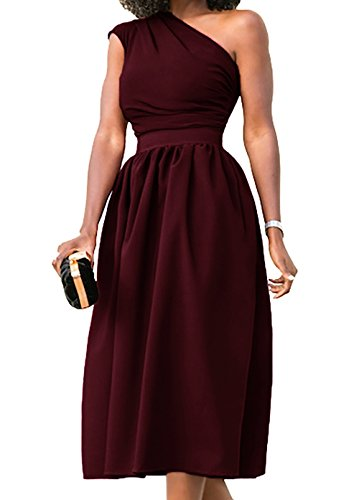 Nashion Women Summer Vintage Casual Formal Cocktail Party Prom Wedding Evening Graduation Church Office One Shoulder Sleeveless Wrap Midi Dress for Junior Wine Red,L