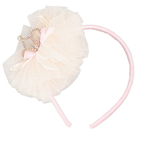 FRILLS Baby Girl Tiara & Tulle Hairband - Perfect Wedding Flower Girls Headband for Toddler - Ivory