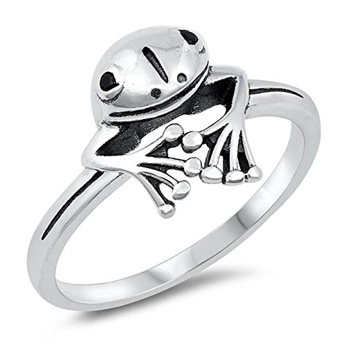 Oxford Diamond Co Sterling Silver Plain Peeping Frog Ring Sizes 10