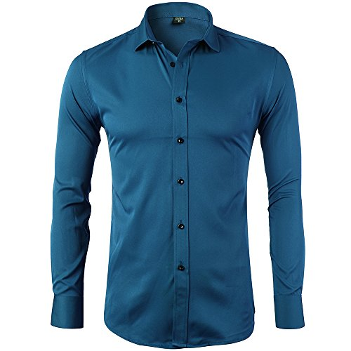 INFLATION Men's Bamboo Fiber Dress Shirts Slim Fit Solid Long Sleeve Casual Button Down Shirts, Elastic Formal Shirts For Men,Blue Shirts