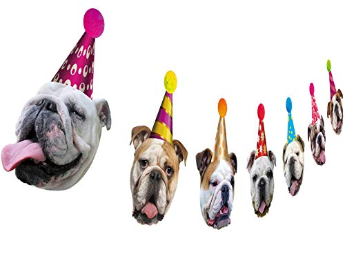 Dog Birthday Garland, Funny English Bulldog Face Portrait Birthday Banner, Bday Party Decoration]()