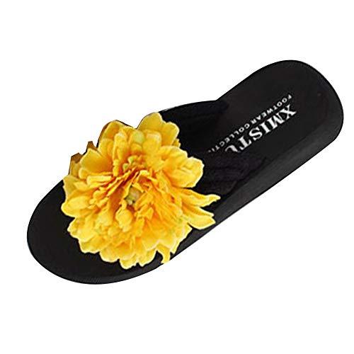 YOUJIA Tongs Noir été 4 Fleurs Jaune Plage Boho Plateforme Sandales Femmes Compensées pgqtwg