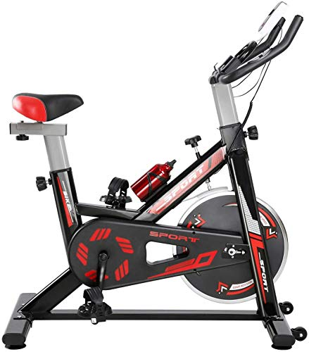 Indoor Home Exercise Cycling Bike Stationary with With LCD Digital Monitor Phone Holder for Men Women, Max Load 330Lbs