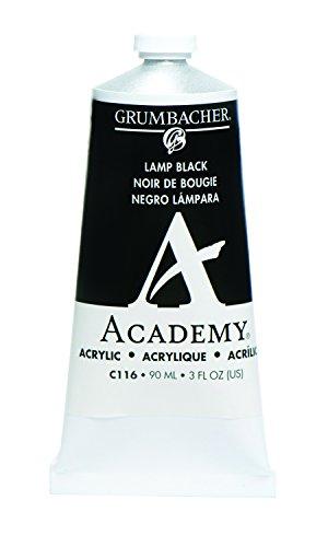 Grumbacher Academy Acrylic Paint, 90ml/3 oz Metal Tube, Lamp Black