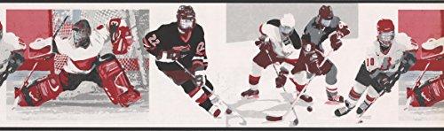 White Watch Me Grow Hockey Wallpaper Border 79224 ()