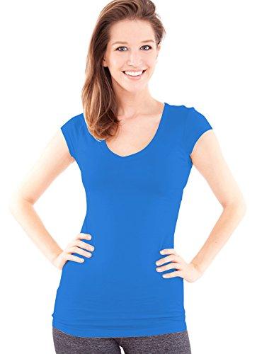 (Active Basic Women's Plain Basic Deep V Neck T-Shirt with Cap Sleeves,Large,Teal)