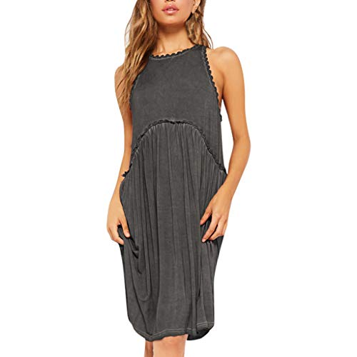 Womens Dresses Sleeveless Round Neck Lace Trim Pleated Loose Straight Solid Color Casual Dress for Summer (XXL, Black)