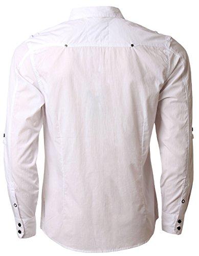 Dissident 1H 4918 Chemise en coton à manches longues et retroussables pour homme, Blanc, X-Large
