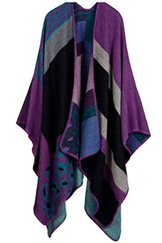 VamJump Women Winter Cashmere Oversized Blanket Poncho Cape Shawl Cardigan Coat, Purple-2,One size