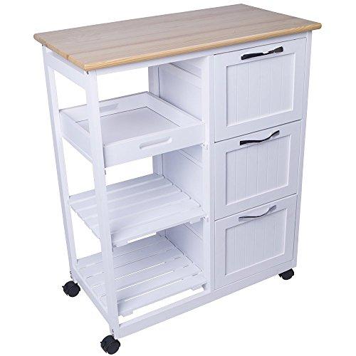 Küchenwagen aus Holz Küchentrolley weiß Servierwagen Rollwagen Küchenhelfer Teewagen