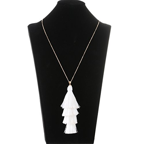 Lariatneck White Tassel Necklaces Long Bohemian Necklace Thread Layered Fringe Pendant for Women