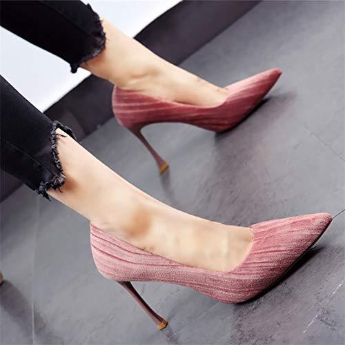 FLYRCX FLYRCX FLYRCX Frühling und Herbst im europäischen Stil Spitze Cord-Stiletto-Absätze High-End-Mode Temperament Einzelne Schuhe 72d9ef