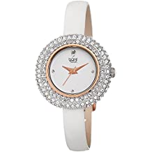 Burgi Women's BUR195 Swarovski Crystal & Diamond Accented Watch - Comfortable Leather Strap in A Gift Box (Rose Gold & White)