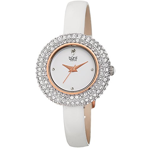 Diamonds White Dial - Burgi Women's BUR195 Swarovski Crystal & Diamond Accented Watch - Comfortable Leather Strap in A Gift Box (Rose Gold & White)