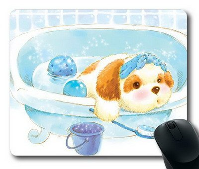 Enjoy happy life ouse Mat,The dog bathing Office Computer Mouse Pad (220mm*180mm*3mm)