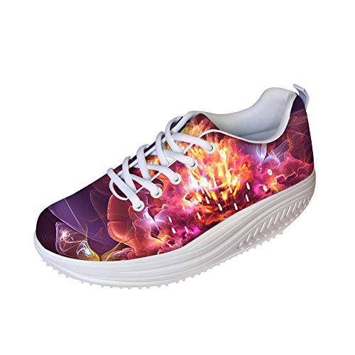Bigcardesigns Vintage Floral Design Sneakers Women Ladies Mesh Breath Walking Toning Shoes 41