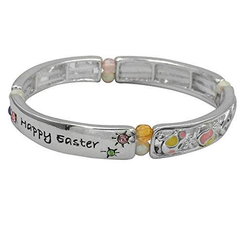 Happy Easter Good Friday Theme Multi Color Egg Stretch Bracelet (Silver (Enamel Crystal Stretch Bracelet)