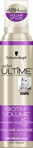 Ultime Mousse Biotin Volume Aerosol 8 Ounce Strong Hold (235ml) (2 Pack)
