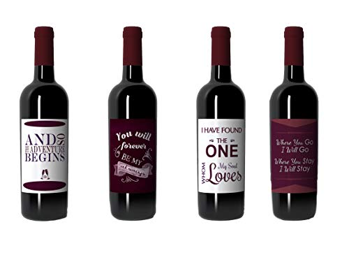 Wine Bottle Labels for Wedding, Bridal Shower, Bachelorette Gift, or Engagement Party Gift -