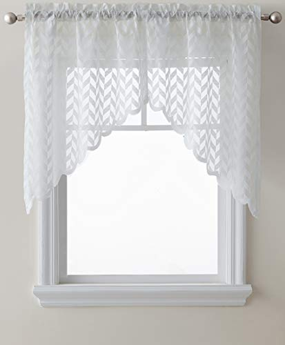 Window Swags Treatments (HLC.ME Herringbone Semi Sheer Voile Kitchen Cafe Curtain Panels - Rod Pocket - Tiers, Swags & Valances for Small Windows & Bathroom - 30