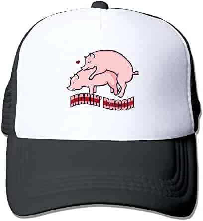 Men Women Makin  Bacon Pigs in Love Mesh Snapback Hats Adjustable Street  Rapper Hat c4fa0c560895