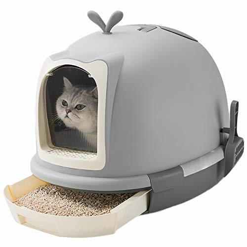 Grey Fully enclosed front u6380 universal cat litter, odor-resistant and splash-proof large cat toilet cat supplies