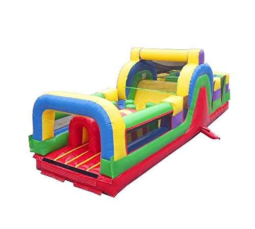 30-Foot Long Inflatable No Jump Top Obstacle Course Rock Climb Slide with Tunnel Entrance, Retro Rainbow, 11-Foot Wide by 11-Foot Tall, Commercial Grade Interactive Bouncer with Blower and Stakes