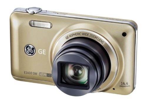 General Imaging Full-HD Digital Camera with 14.4MP, CMOS, 10X Optical Zoom, 3-Inch LCD, 28mm wide angle Lens, and HDMI (Gold) E1410SW-CP