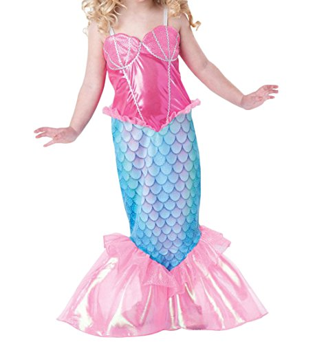 [Little Girls' Princess Mermaid Party Costume Full Length Dress (130 (5-6Y))] (Little Girls Mermaid Costumes)