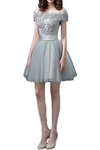 Gorgeous Bride Fashion Schulterfrei Spitze Tüll A-Linie Abendkleider Cocktailkleider Mini Ballkleider Kurz
