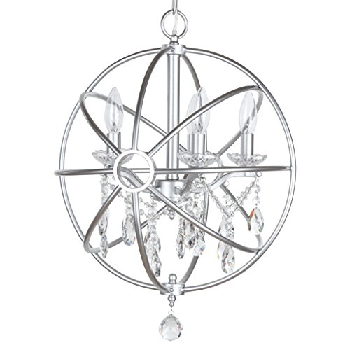 Round Chandelier Modern (Luna Collection Modern Orb Crystal Swag Chandelier with 5 Lights, Sphere Glass Pendant Ceiling Lighting Fixture (Silver))