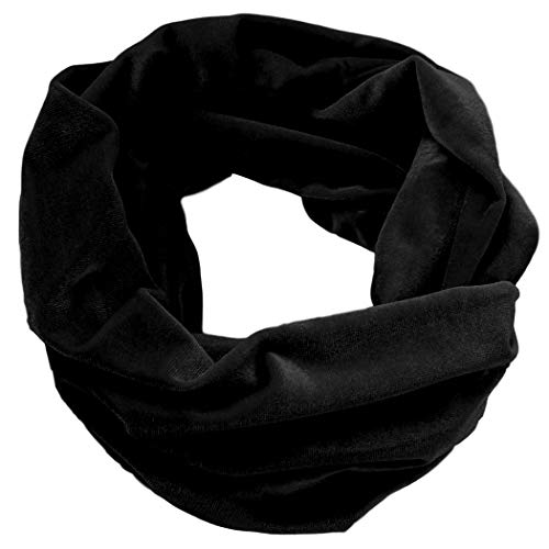 Infinity Scarf Velvet Soft Plush Cowl Loop Many Colors Warm Fall Winter Accessory Made in the - Velvet Scarf Black